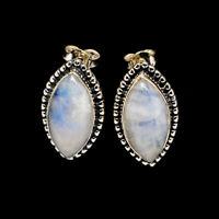 "Rainbow Moonstone 925 Sterling Silver Earrings 1"" Ana Co Jewelry E398423F"