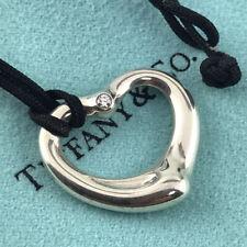 Tiffany & Co. Silver Elsa Peretti 1P Diamond Open Heart Silk Code Necklace #1123