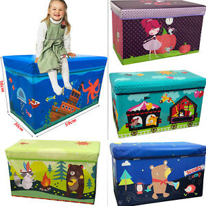 Kids Children's Large Storage Toy Box Boys Girls Books Chest Clothes Seat Stools