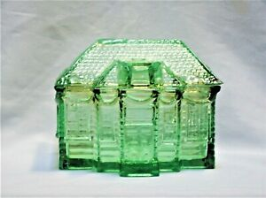Vintage Green Pressed Glass Box House Shaped with Lid NEW Old Stock Taiwan
