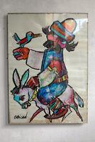 naive Malerei Acryl Papier Jovan OBiCAN sig Bild 80er acrylic painting Gemälde