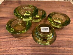 CRATE & BARREL OLIVE GREEN GLASS TEALIGHT VOTIVE CANDLE TEA LIGHT SET OF 5