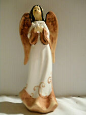 """Angel Holding Tiny White Dove Brown Earth-tone Wings Hair 6"""" x 3"""" Ceramic Angel"""
