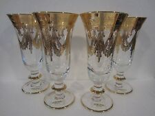 Set of 4 Horchow 24kt Gold Painted Crystal Medici ~ Champagne Flutes ~ Italy