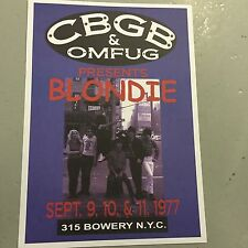 BLONDIE - CONCERT POSTER CBGB'S NEW YORK CITY SEPTEMBER 1977 (A3 SIZE)