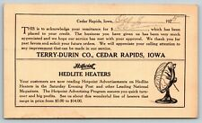 Cedar Rapids Iowa~Terry Durin Company~Hot Point Hedlite Heaters~1925 Adv Postal