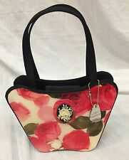 Angela Frescone Small Patent Leather Purse Floral Print vintage rare boho hip