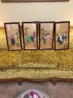 Antique Chinese Framed 3D Pictures  Set Of 4 Numbered Ones