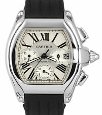 Men's Cartier Roadster XL Stainless Silver Chronograph W62019X6 Date Watch 2618