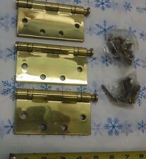 """HAGER BB 1191 4.5"""" X 4.5"""" FULL MORTISE HINGE US3 605 02963 3-PACK POLISHED BRASS"""
