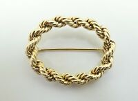 Very Nice 14K Yellow Gold 1.35 Inch Open Oval Rope Chain Pin 4.3 Grams D4704