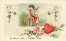 Cupid with Bow and Arrows Pink Rose and Floral Valentine Postcard