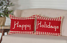 Beautiful Country Christmas Happy Holidays 2 Piece Red & Creme Check Pillow Set