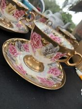Royal Sealy China Japan Roses Iridescent Footed Tea Cup And Saucer Gold Accents