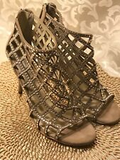Bootie Caged Michael Kors Yvonne Crystallized Shoe Size 6.5 Nude Satin $225 NICE