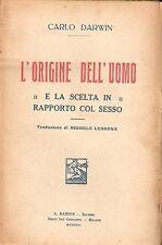 Darwin - L'Origine dell'Uomo e la scelta in rapporto al sesso -Barion 1926