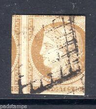 France 1851 10c bistre verdâtre CERES imperf, exceptionnellement MISCUT. SG 2