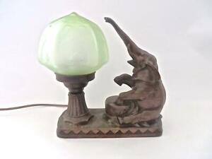 Art Deco Nuart Frankart Bronzed Trunk Up Elephant Lamp Original Shade No Reserve