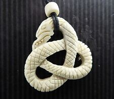 Buffalo Bone Adjustable Pendant Necklace Snake Twisted Triquetra Natural Water