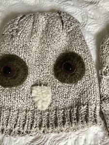 Primark Owl Knit Hat & Gloves super cute and soft one size