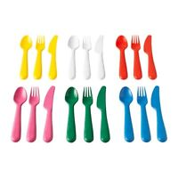 KALAS Childrens Plastic Cutlery Set Knife, Fork & Spoon 6 Sets 18 Pieces