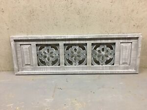 Large Rectangular Farmhouse Style Window Arch Headboard Wall Art Wood Metal Gray