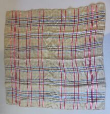 Vtg Liz Claiborne scarf tan, pink and blue check hand stitched edges  Silk