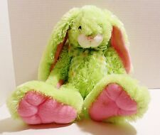 "Walmart Plush Rabbit - Green Bunny with Pink Hands and Feet - 18"" tall"