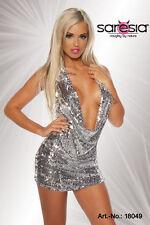 Sexy Damen Pailettenkleid Minikleid Kleid mit Pailetten SiLbEr GoLd Gr. XS S M L
