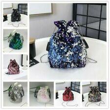 Women Sequins Bucket Shoulder Bag Drawstring Chain Messenger Handbag Glitter Bag