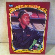 1986 Fleer Star Sticker Chris Brown Auto Signed Card d. 06 RARE