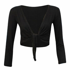 Women's Long Sleeve Tie up Ladies Bolero Shrug Cardigan Top Plus Size 8-22 20-22 Black