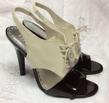 BCBG  Black / Ivory open toe lace up slingback heels sz 7.5B (37.5)