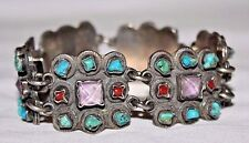 Vintage Mexican Sterling Silver, Turquoise, Coral & Amethyst Link Bracelet
