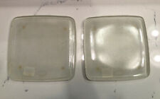 Vintage~Square Frosted Glass Candle Plates (2) Nwt