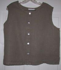 Bryn Walker Women's 100% Linen Brown Sleeveless Tank Top Tunic Shirt Large