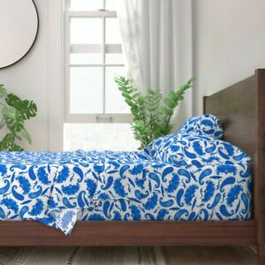 Blue And White Parisian Style Mid 100% Cotton Sateen Sheet Set by Roostery
