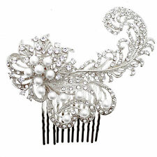 WEDDING SILVER GOLD PEARL JEWEL BRIDAL DIAMANTE HAIR COMB FASCINATOR HAIRPIECE