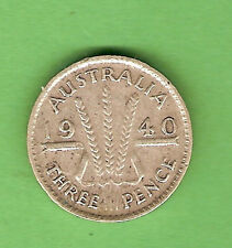 1940  AUSTRALIAN STERLING SILVER THREEPENCE COIN