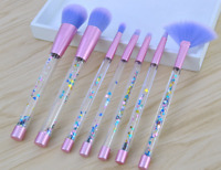 7pcs Crystal Makeup Brushes Kit Cosmetic Eyeshadow Powder Foundation Brush Set