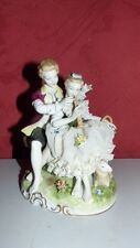 FIGURE LADY FLUTIST & GENTLEMAN LOVERS FIGURINE UNTER WEISS BACH