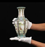 Enamel Ceramic Zodiac Hexagonal Vase Chinese Antique Porcelain Reproduction