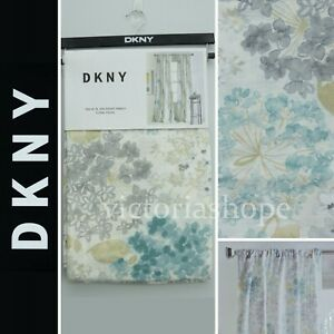 DKNY 2 Panels Window Curtain Drapes ~ Floral Fields ~ Blue Teal/Gray ~ 50x84/96