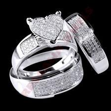 14K White Gold Fn His Her Heart Shape Diamond Wedding Bridal Trio Ring Set