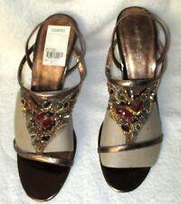 "New **NINE WEST**  Strappy Beaded Bronze Leather 3 3/4"" Sandal Heel, 8.5 M"