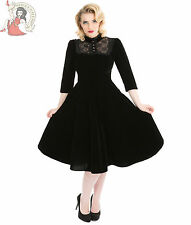 Hearts and Roses H&R London 50s Style Nightshade Velvet Party Dress Black UK 8 (xs)