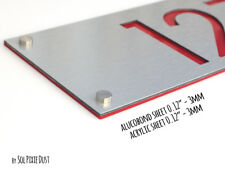 Modern House Numbers, Alucobond with Red Acrylic - Vertical 2- Contemporary Home