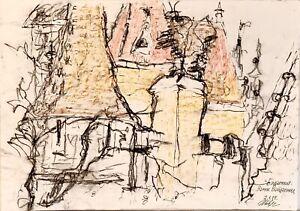 ORIGINAL watercolor pencils painting on paper artwork signed Vaidahunyad Castle