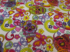 5 Metres Ivory Hippy Candy Skulls Printed 100% Cotton Poplin Fabric.