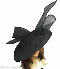 Black Large Ascot Hat for Weddings, Ascot, Derby B7